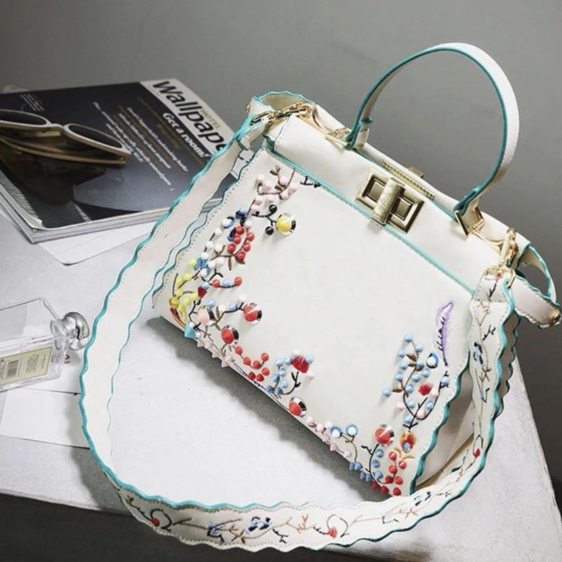flower embroidery studs bag