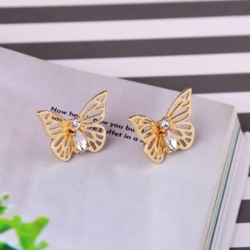 metallic butterfly pierce