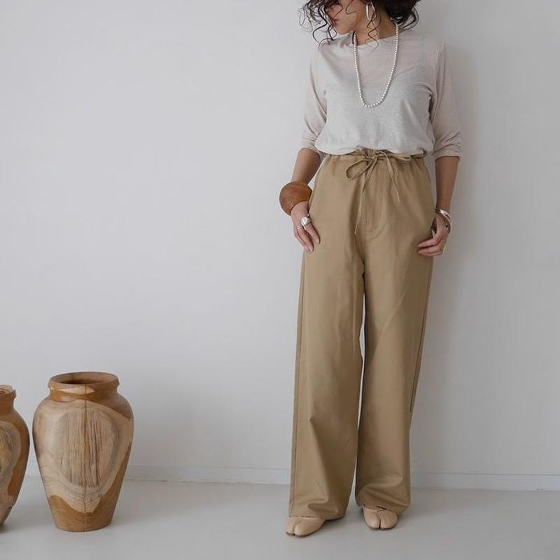 COTTON CUPRA LINEN NEAT MELLOW PANTS(CAMEL)