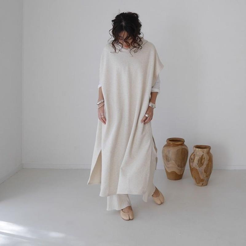 LYOCELL-COTTON SOFT COASE-GRAINED FOODIE CAFTAN DRESS(ECRU)