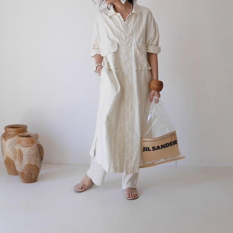 MILITARY COTTON LINEN LONG SHIRT JACKET(IVORY)