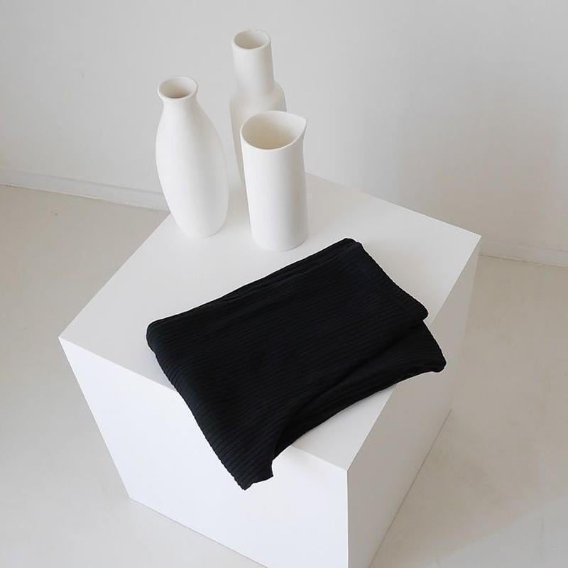 SIESTA SUNNY COTTON RIB PANTS  /BLACK