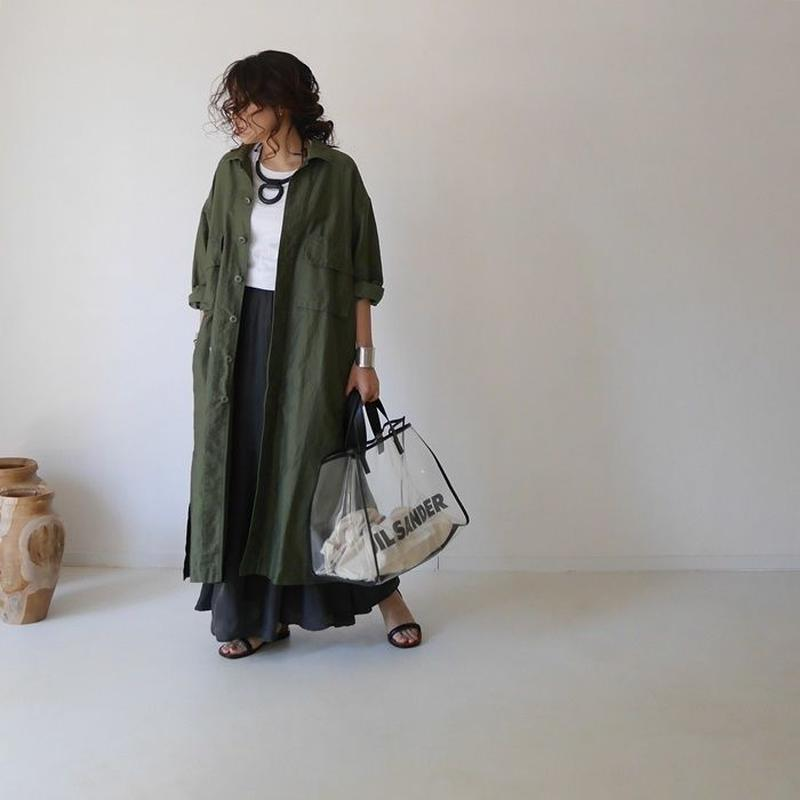 MILITARY COTTON LINEN LONG SHIRT JACKET(KHAKI)