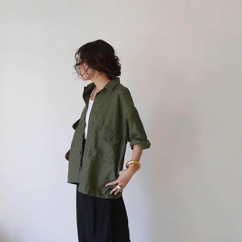 MILITARY COTTON LINEN SHIRT JACKET(KHAKI)
