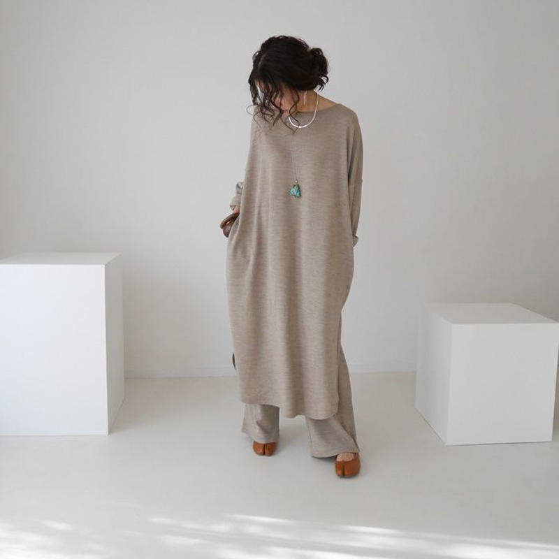 RIDDIM SMOOTH WOOL  DRESS SET-UP(BEIGE)