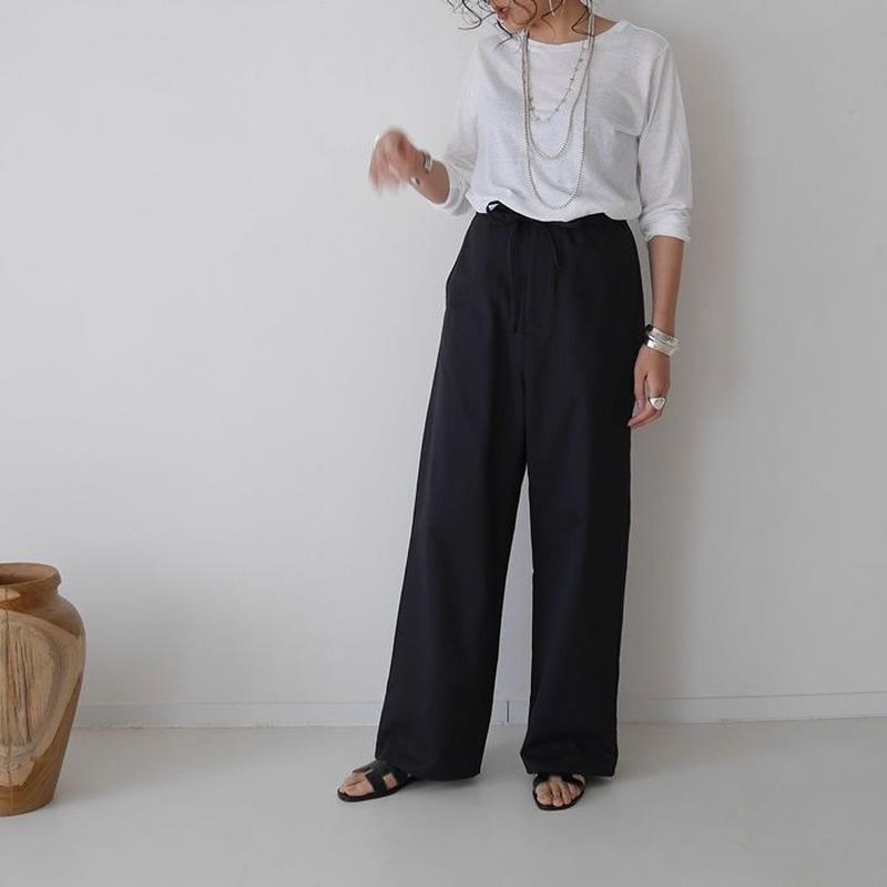 COTTON CUPRA LINEN NEAT MELLOW PANTS(BLACK)