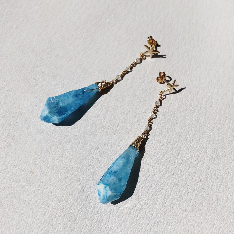 Starfish × Crystal Points Pierce -Light blue-