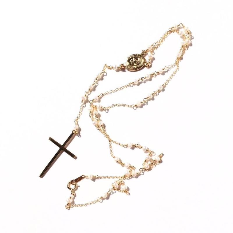 Tiny Pearl Rosary Necklace