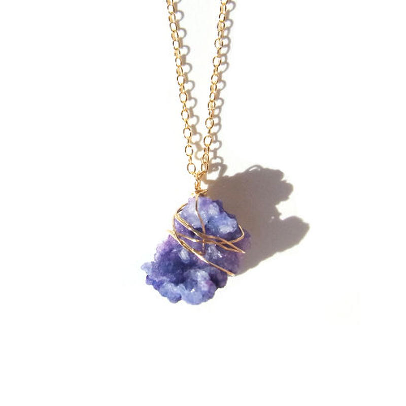 Drusy Chip Necklace -Purple / B-