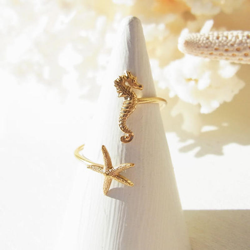 Seahorse × Starfish Ring