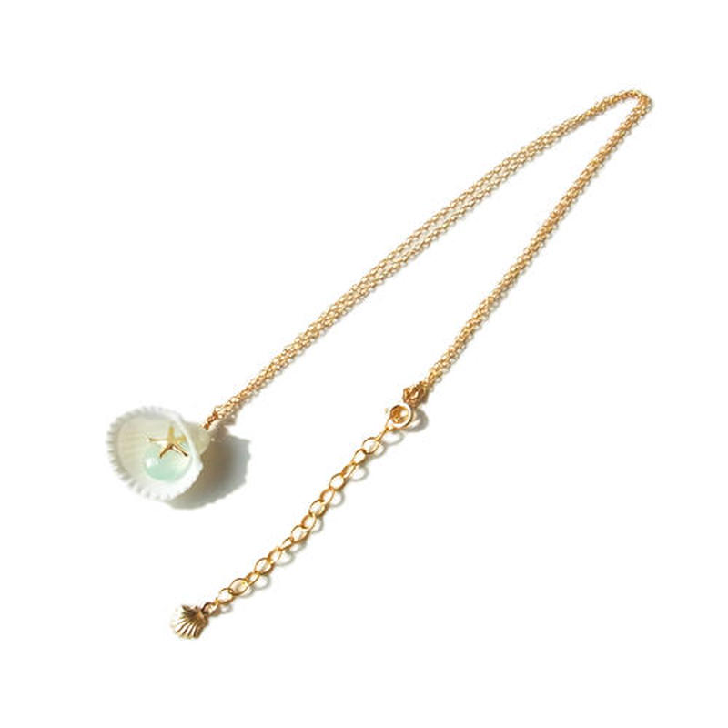 White Shell × Chalcedony Necklace