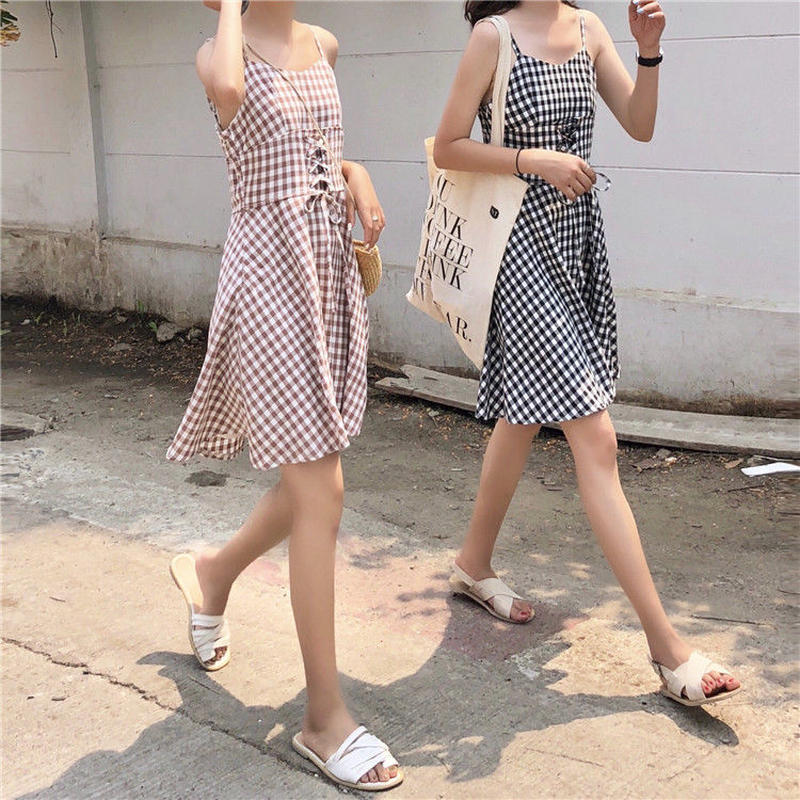girly gingham check dress