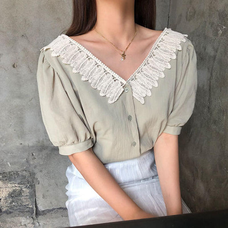 feather puff sleeve blouse