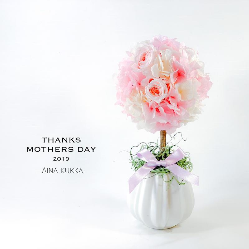 母の日[トピアリーアレンジ]ブライダルピンク/プリザーブドフラワー