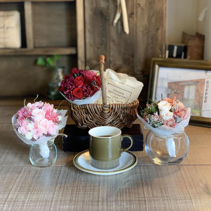 [Flower & Coffee SET]ミニブーケ+メッセージドリップバック2種5個