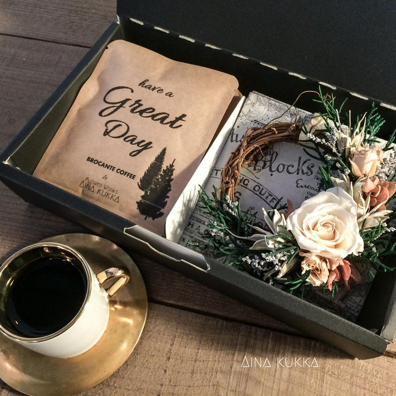 [Flower & Coffee SET]ミニリース(ウォッシュドアンティーク)+メッセージドリップバック2種5個BOX入セット