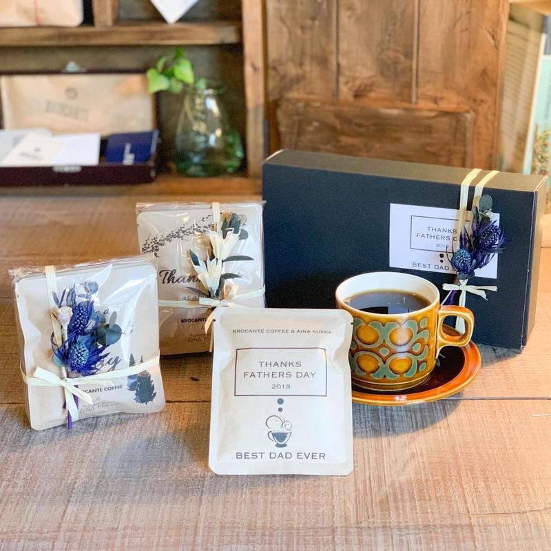 父の日[COFFEE GIFT SET]メッセージドリップバック5個+ミニ花束