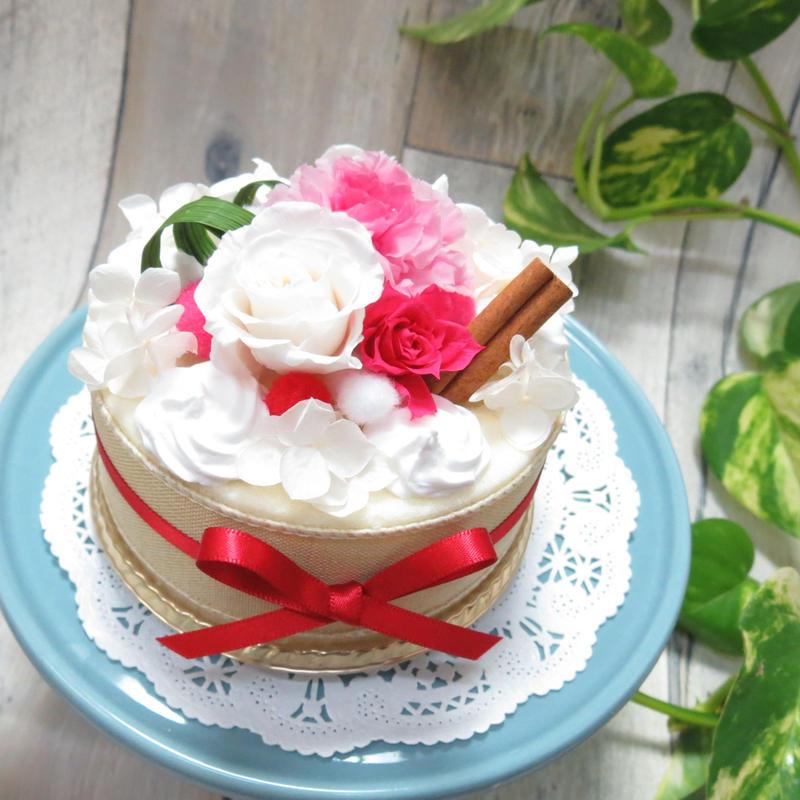 [フラワーケーキ]キャンディピンク×ホワイト/プリザーブドフラワー