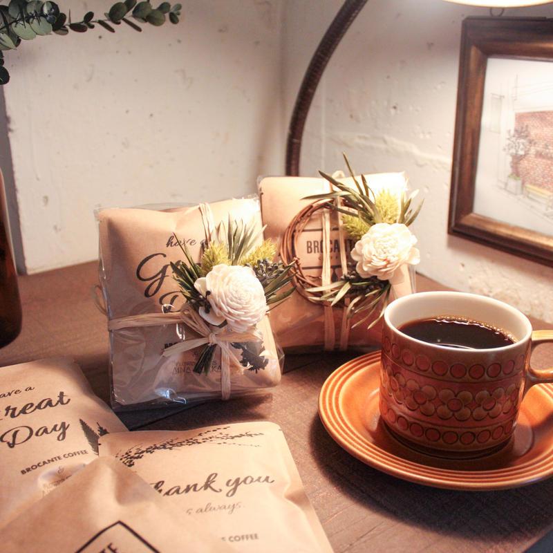 [Flower&Coffee SET]メッセージドリップバック5個+ミニリースorミニコサージュ