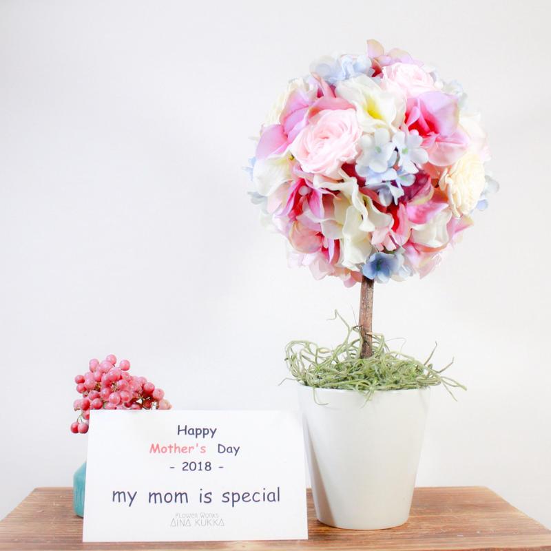 母の日[トピアリーアレンジ]モーブパステル/プリザーブドフラワー×アーティフィシャルフラワー