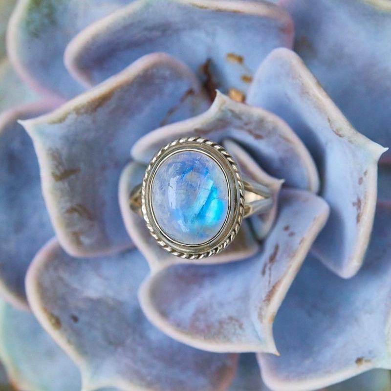 Rainbow Blue Moonstone Jewelry BOHO style