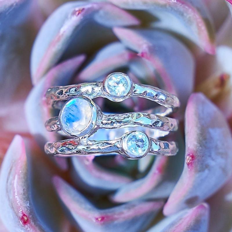 Three band rainbow Moonstone &topaz jewelry
