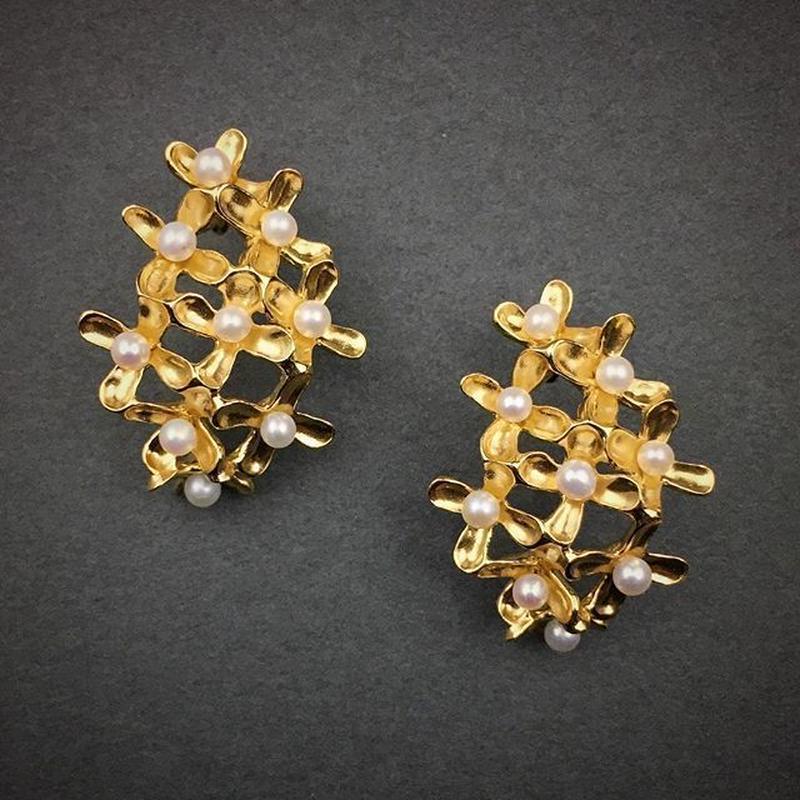 Osmanthus earring (ear clips type)M-size(18KGP) 金木犀イヤリング Mサイズ(18KGP)