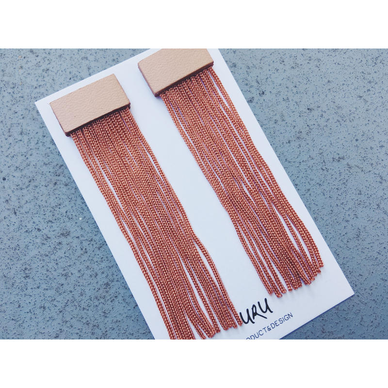 Leather Long Fringe Earrings(brick‐red)