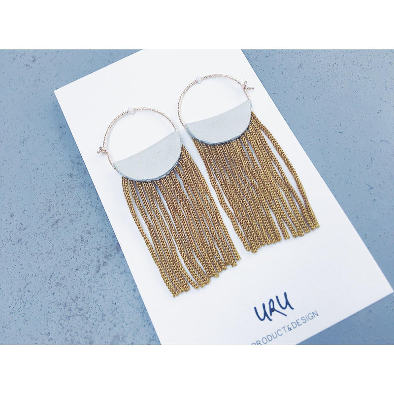 Leather Fringe Hoop Earrings