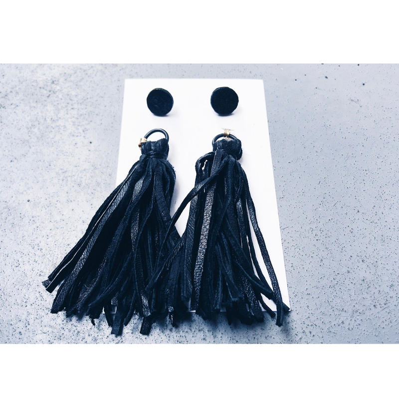 Leather Tassel Charm Earrings ○