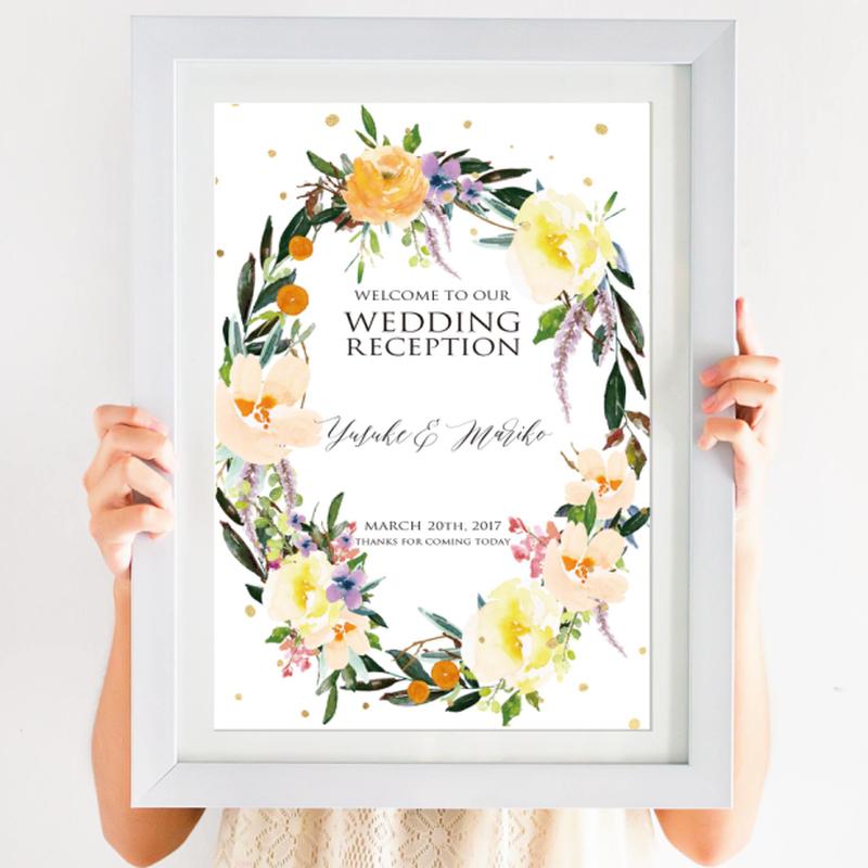 【ウェルカムボード】flower wreath(A4)