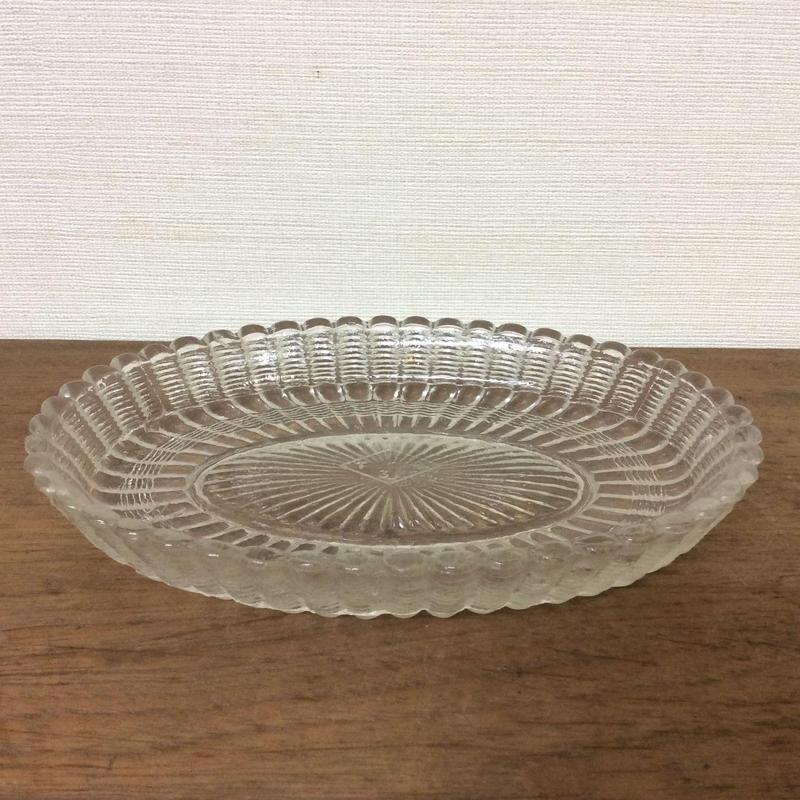 戦前 ガラス皿(楕円形)