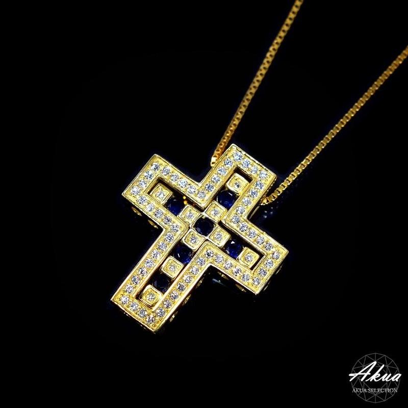 S925 22KGP separate sapphire CZ cross necklace gold №39