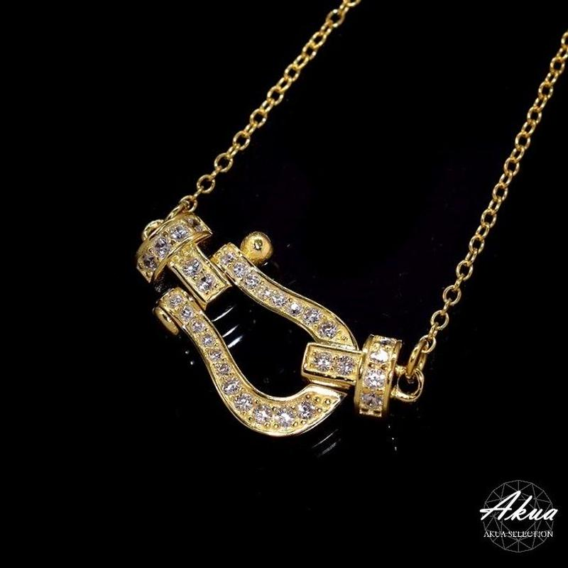 S925 22KGP CZ diamond side horse shoe necklace gold №41