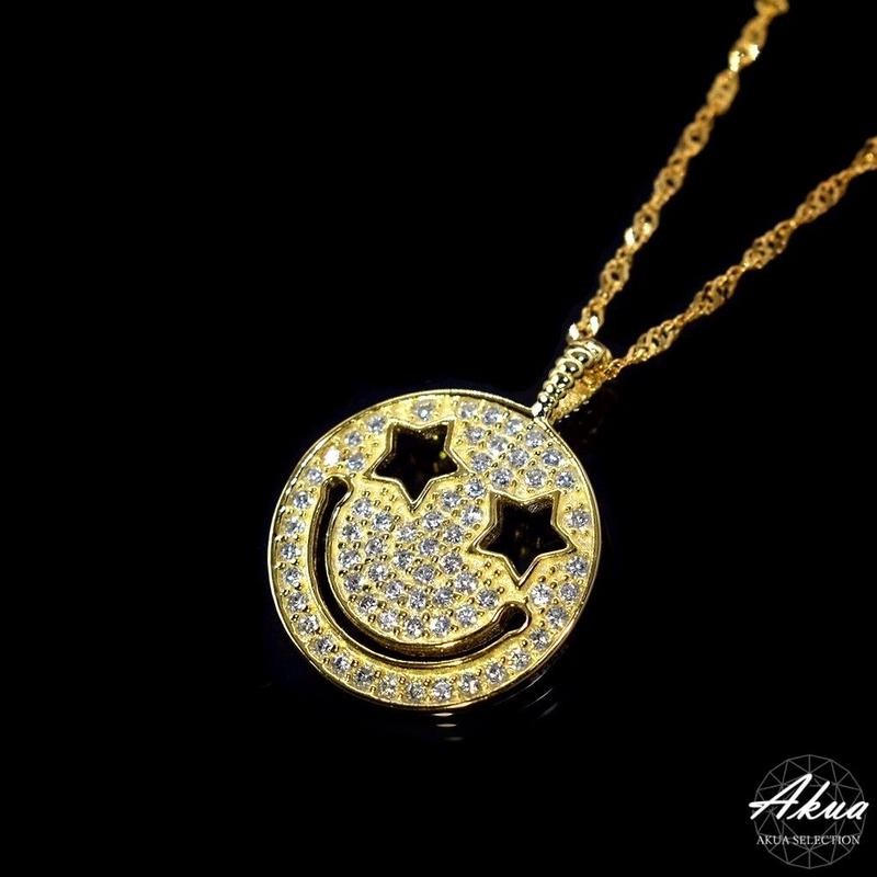 S925 22kgp CZ diamond smile necklace gold №9