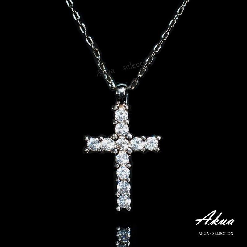 Zirconia cross necklace silver №22