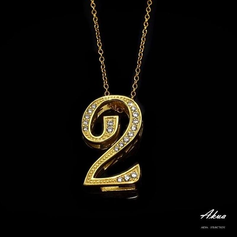 S925 22KGP number necklace gold No.2
