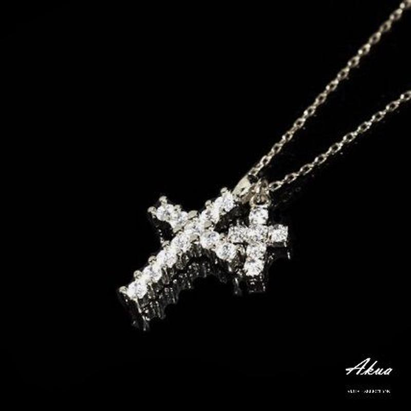 Zirconia Ⅱcross necklace silver №28