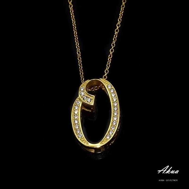 S925 22KGP number necklace gold No.0