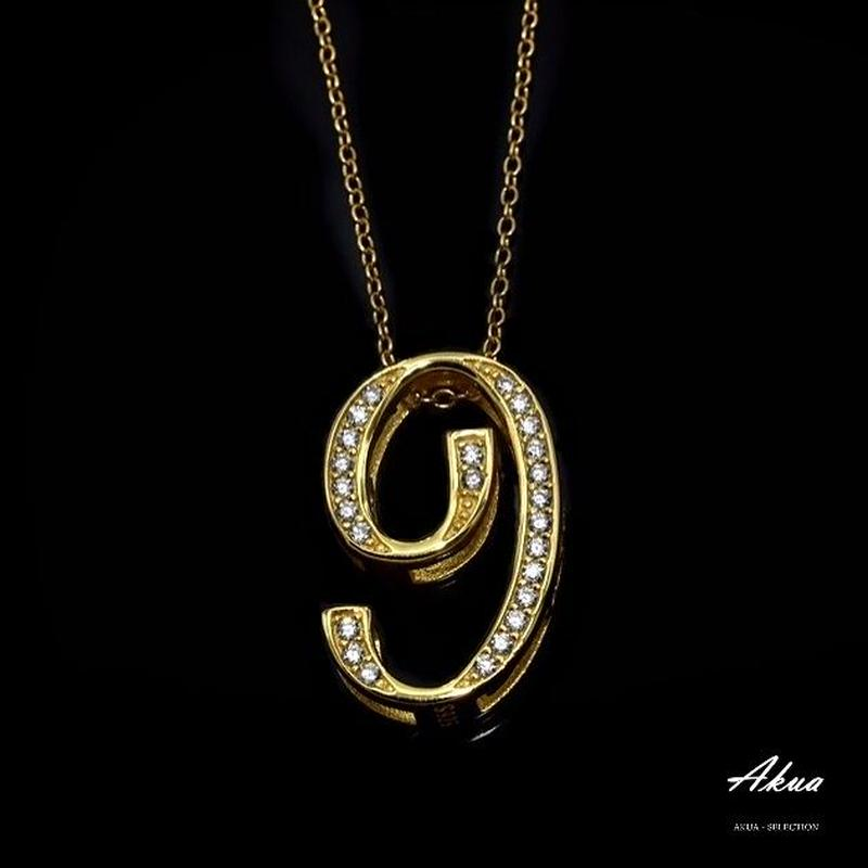 S925 22KGP number necklace gold No.9