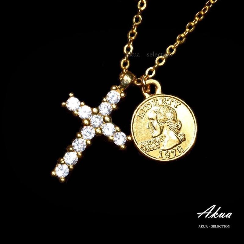 Zirconia cross & coin necklace gold №35