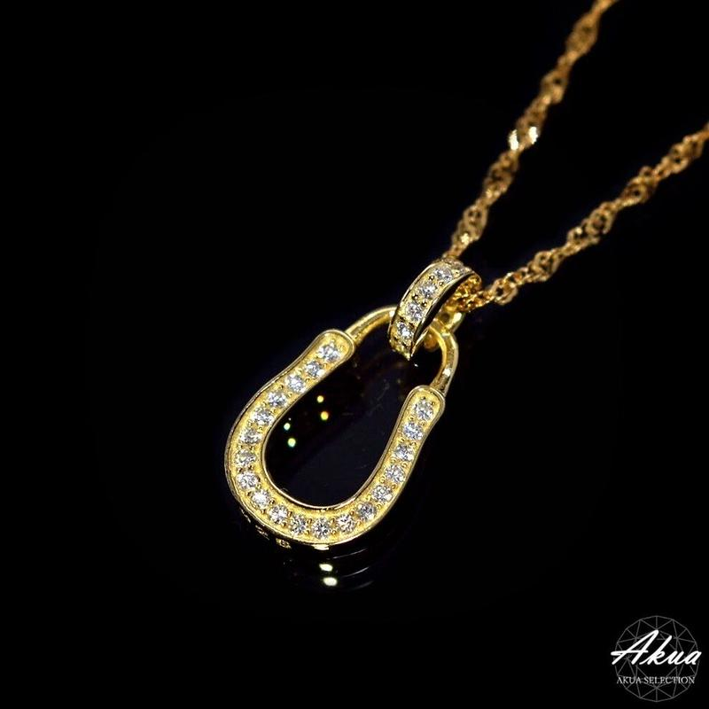 S925 22KGP CZ diamond horse shoe necklace gold №7