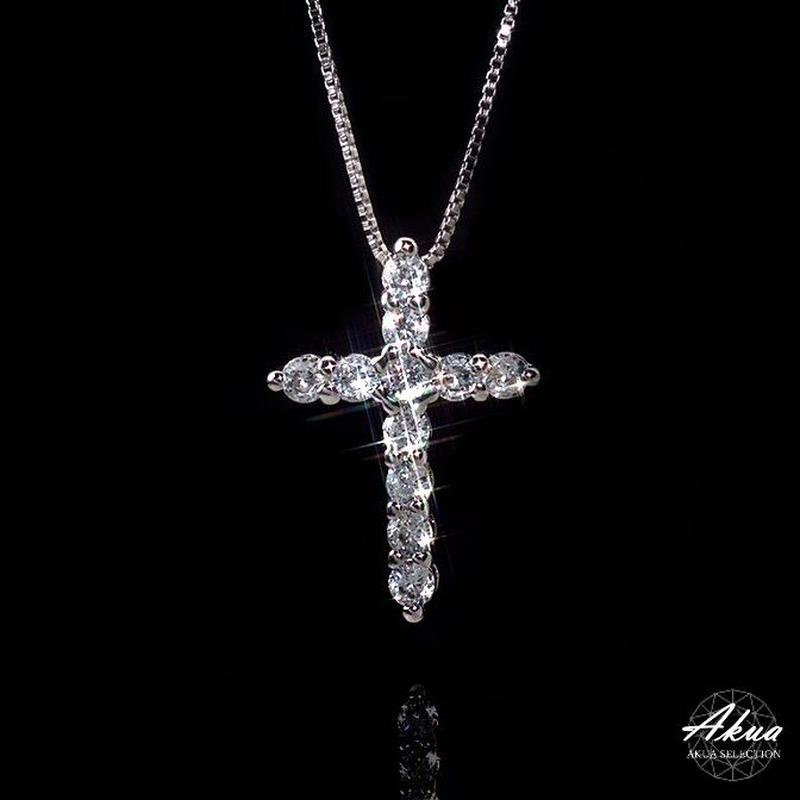 S925 CZ daiamond cross necklace silver №10