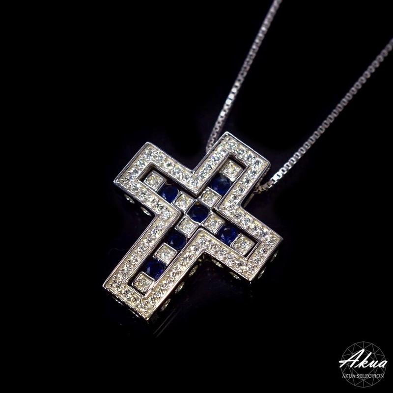 S925 22KGP separate sapphire CZ cross necklace silver №40