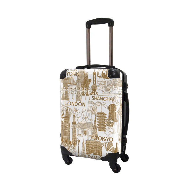 [着替式 スーツケース ]フレーム4輪|機内持込|ホワイト×ソフトキャメル|CRA01H-045C