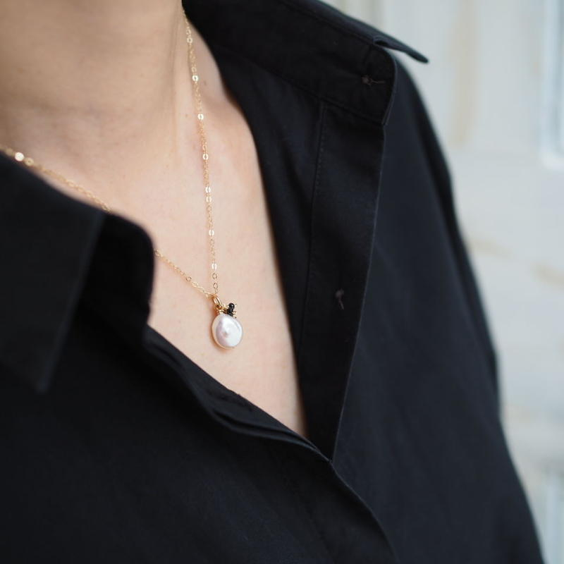 14kgf  Pearl & Black spinel necklace [NP015]