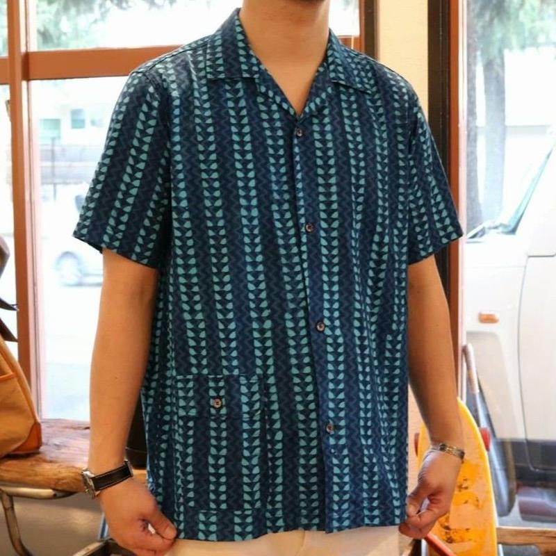 WORKERS 【OpenCollerShirt】BlockPrintBlue