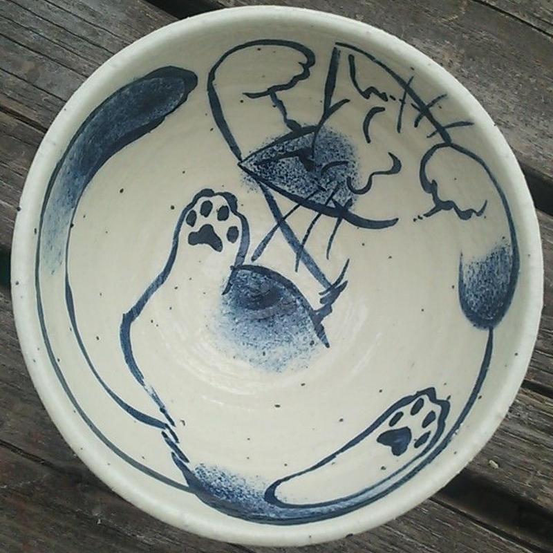 ぶち猫のお茶碗(青)