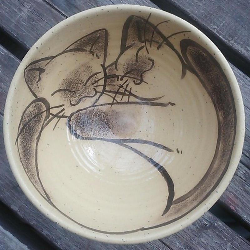 二匹猫のお茶碗(黄色)ちょっと大きめ