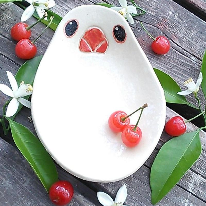 白文鳥のお皿(長い方)